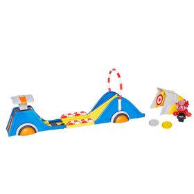 Ricky Zoom Assemblage de jeu Speed & Stunt incluant Ricky avec 2 accessoires de sauvage - les Roulettes Mobiles, se tient débout, assemblage de jouet Stunt Moto - Notre exclusivité
