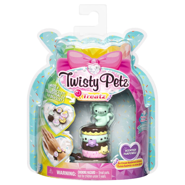 Twisty Petz Treatz, Bracelet Chaton Sandwich à la crème glacée parfumé empilable à collectionner