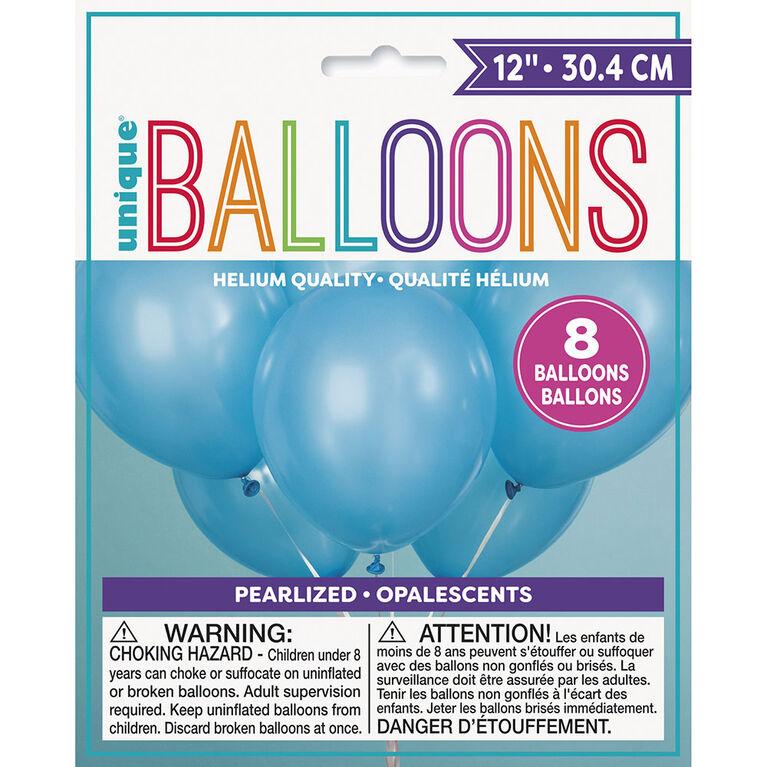 "12"" Latex Balloons, 8 Pieces - Powder Blue"