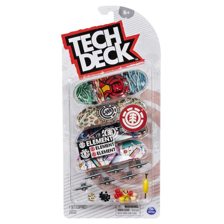 Tech Deck, Coffret de 4 fingerboards Ultra DLX Fingerboard, Element Skateboards, Mini-skateboards à collectionner et personnaliser