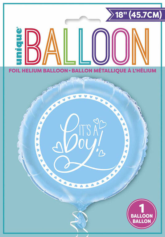 "Blue Hearts Baby Round Foil 18"" - English Edition"