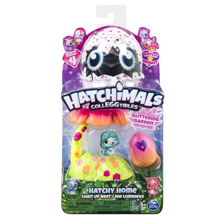 Hatchimals CollEGGtibles - Glittering Garden Hatchy Home Light up Nest with Exclusive Season 4 Hatchimals CollEGGtibles