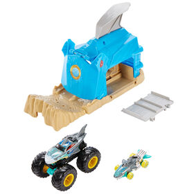 Hot Wheels - Monster Trucks - Coffret de jeu Puits et lancement - Shark Wreak