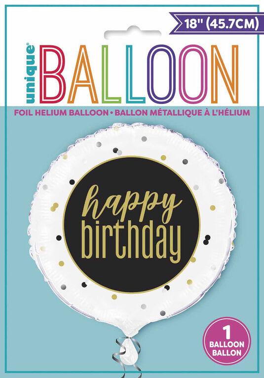 "Ballon aluminium rond, 18 "" - Metallic Happy Birthday - Édition anglaise"