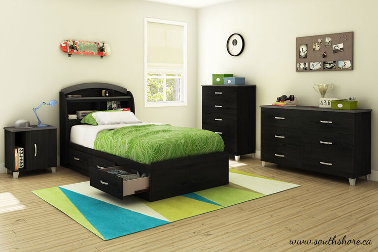Lazer Mate's Platform Storage Bed with 3 Drawers- Black Onyx
