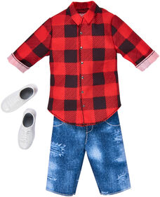 Barbie Ken Red Plaid Shirt and Denim Shorts Fashion Pack