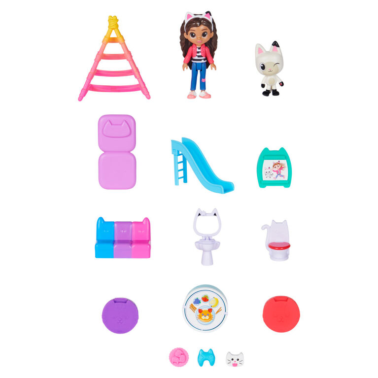 DreamWorks, Gabby's Dollhouse, Purrfect Dollhouse avec 2 figurines jouets, 8 meubles, 3 accessoires, 2 boîtes surprises et sons