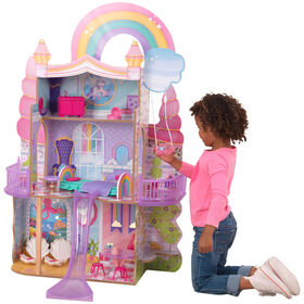 KidKraft Rainbow Dreamers Unicorn Mermaid Dollhouse with EZ Kraft Assembly