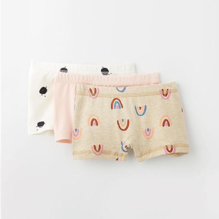 pretty cotton boxer briefs, 12-24m - pink rainbow