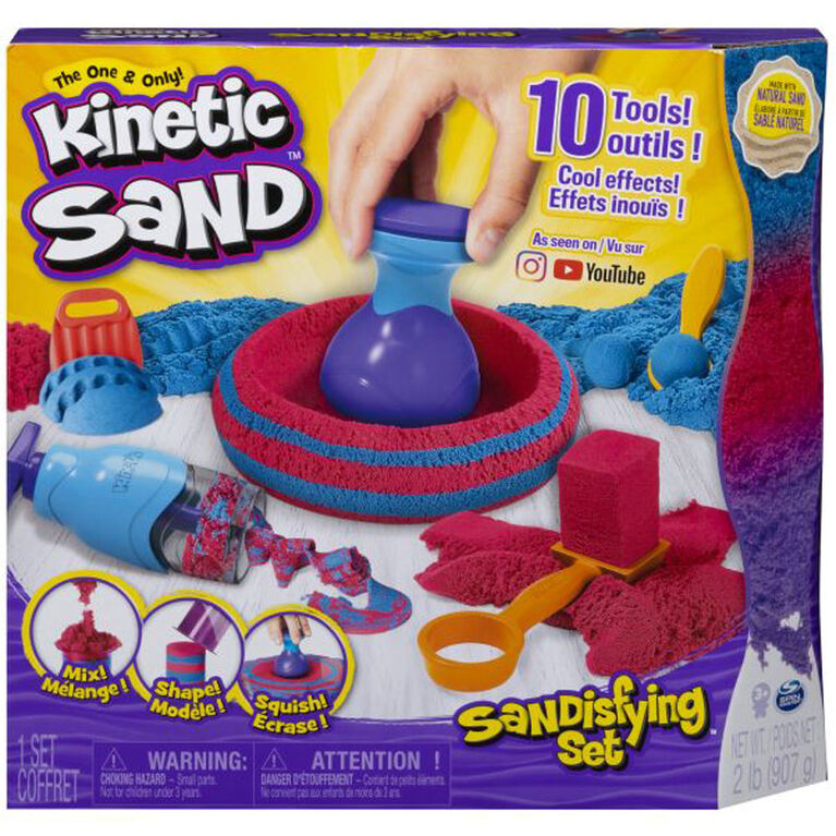 Kinetic Sand, Sandisfying Set with 2lbs of Sand and 10 Tools