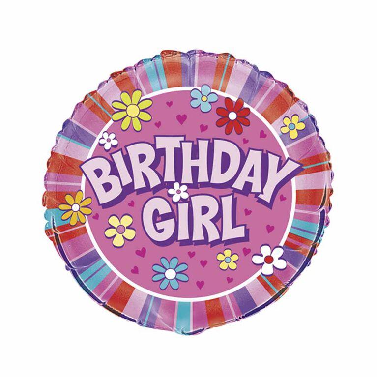 "Ballon aluminium rond, 18 "" - Birthday Girl - Édition anglaise"