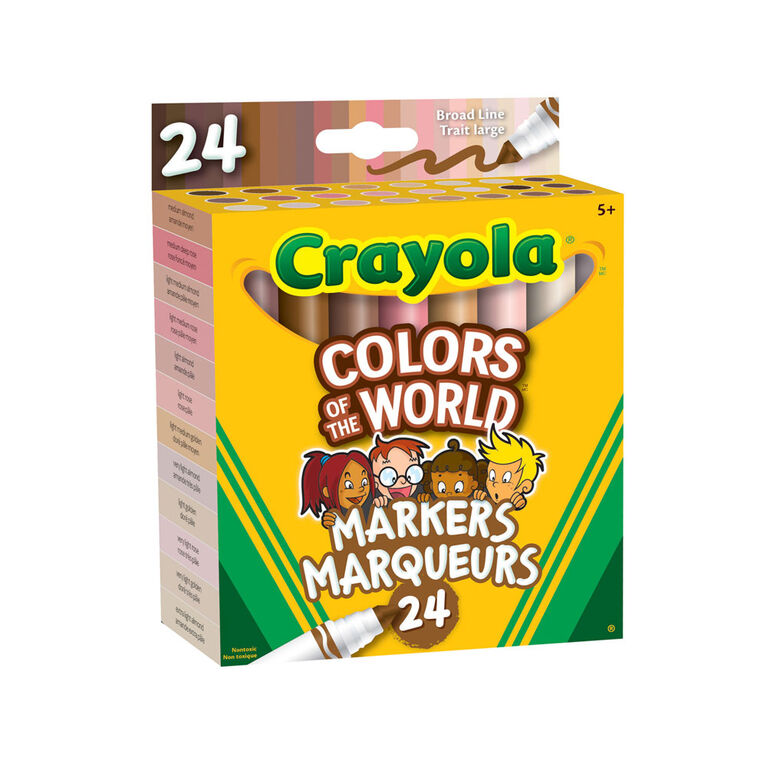 Crayola Colors of the World Skin Tone Broad Line Markers, 24 Count