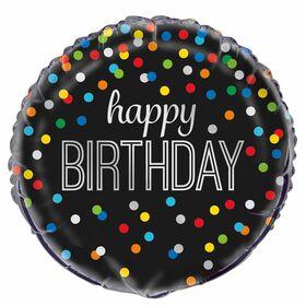 """Ballon aluminium rond, 18 """" - Black Rainbow Dot Birthday - Édition anglaise"""