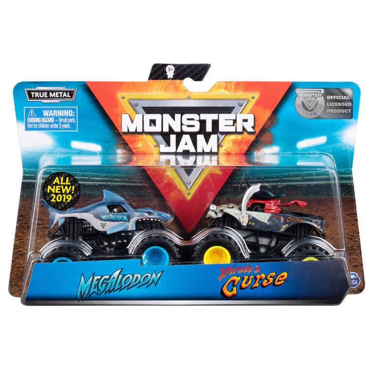 Monster Jam, Official Megalodon vs. Pirate's Curse Die-Cast Monster Trucks, 1:64 Scale, 2 Pack