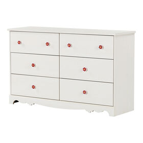 Lily Rose 6-Drawer Double Dresser- White Wash