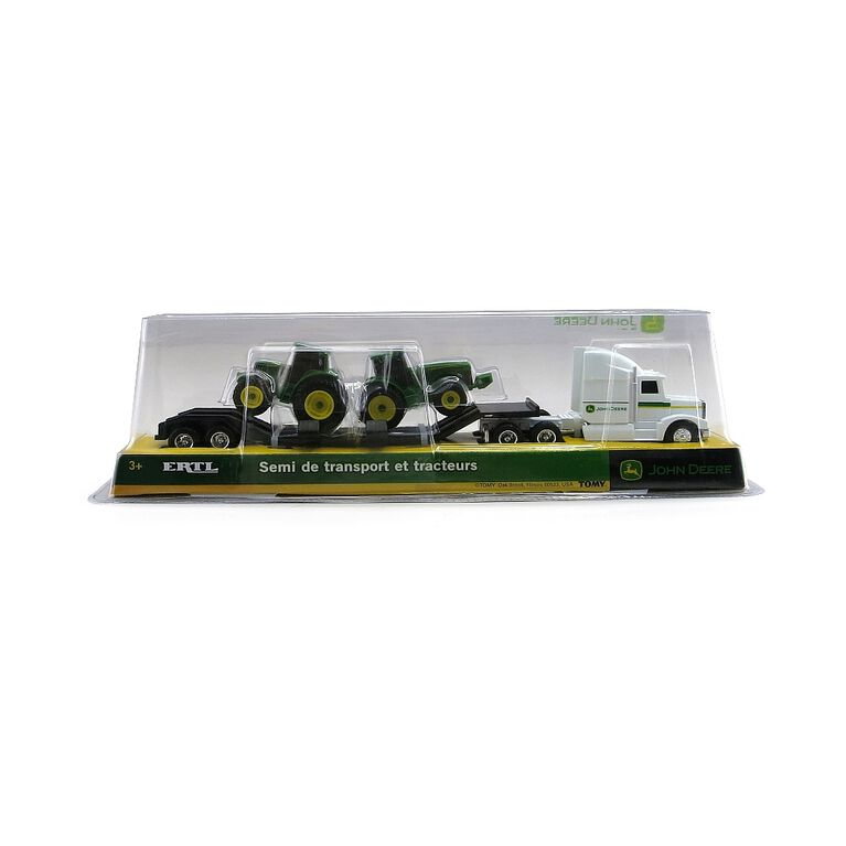 1:64 Scale John Deere Semi with Two Tractors