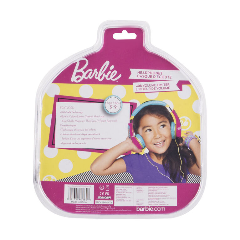 Casque d'écoute Barbie sécuritaire pour les enfants