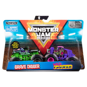 Monster Jam, Official Grave Digger vs. Wild Flower, 1:64 Scale, 2 Pack