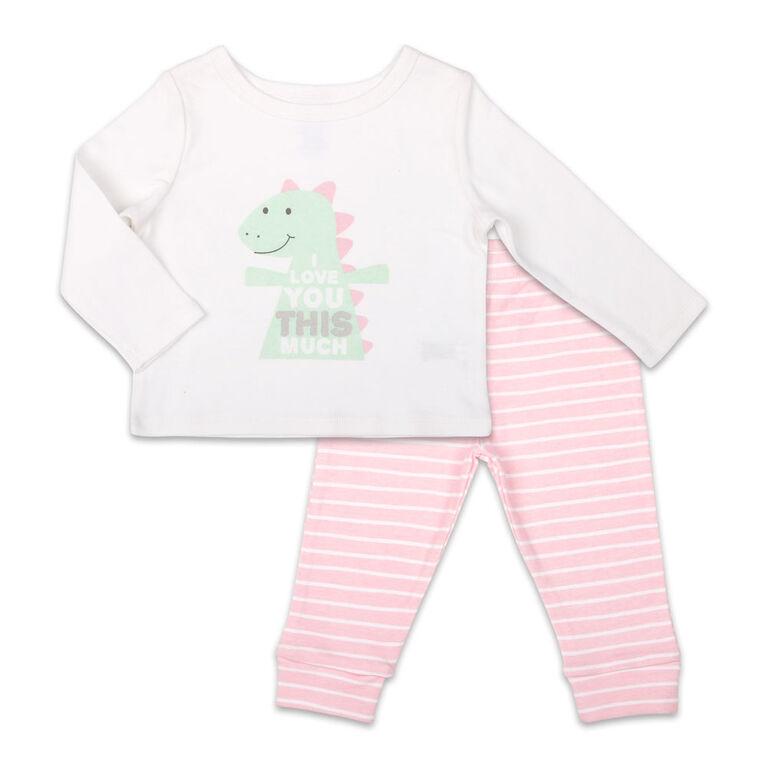 Ensemble combinaison à manches longues pour fille Koala Baby Dinomite avec pantalon, I Love You This Much - Jusquà - 3 Mois