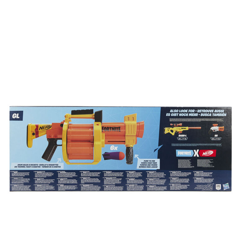 Nerf Fortnite GL Rocket-Firing Blaster -  6-Rocket Drum, Pump-To-Fire - Includes 6 Official Nerf Rockets