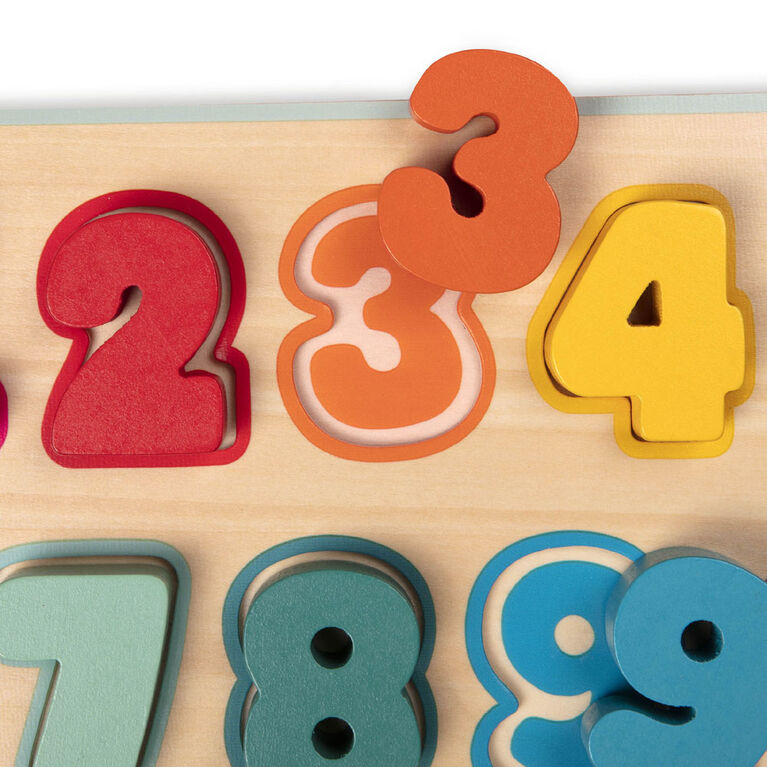 Puzzle de nombres en bois, Counting Rainbows, B. toys