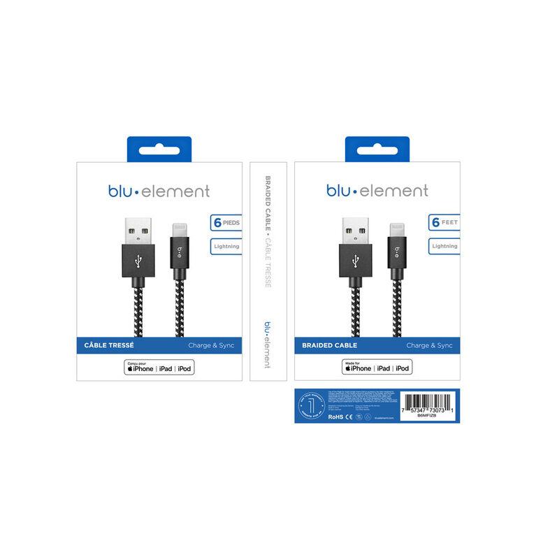 Blu Element Braided Lightning to USB Cable 6ft Zebra