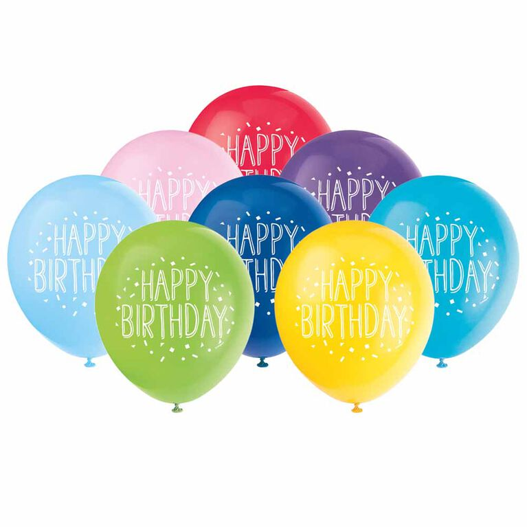 8 Balloons 12 Po - Fun Happy Birthday - Édition anglaise