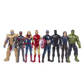 Marvel Titan Hero Series Avengers, Pack de 8 figurines des films Marvel, compatibles Blast Gear