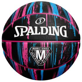 Spalding Marble Basketball - Black/Pink/Blue Size 6