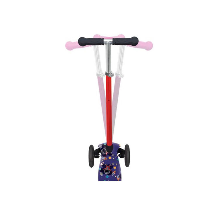 trotinette de course robuste pour enfants avec impression de vaisseau spacial