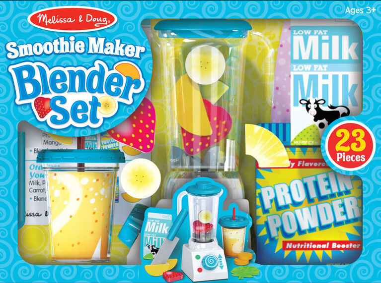 Melissa & Doug Smoothie Maker Blender Set with Play Food - styles may vary