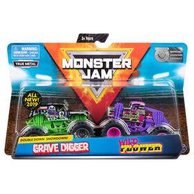 Monster Jam, Official Grave Digger vs. Wild Flower Die-Cast Monster Trucks, 1:64 Scale, 2 Pack