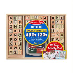 Melissa & Doug - Deluxe Wooden Stamp Set - ABC 123 - English Edition