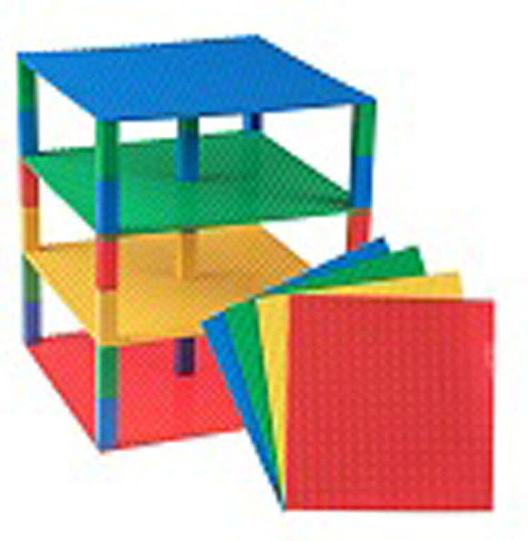 "Strictly Briks - Brik Tower - 10"" x 10"" - 32 x 32 pegs - 4 Baseplates & 30 Stackers - Blue, Green, Red, Yellow"