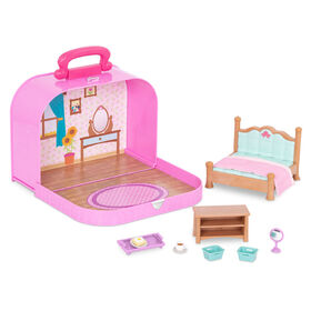 Li'l Woodzeez, Travel Suitcase Bedroom Playset in Carry Case