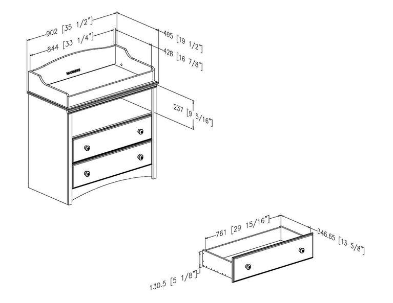 Angel Table à langer avec tiroirs- Gris clair