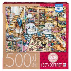 Artist Kim Jacobs - 500-Piece Adult Jigsaw Puzzle - Yarn Shop