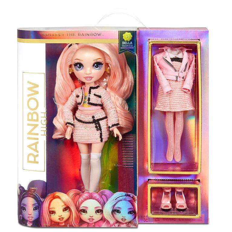 Rainbow High Bella Parker: poupée-mannequin rose avec 2 tenues complètes et accessoires à agencer et associer