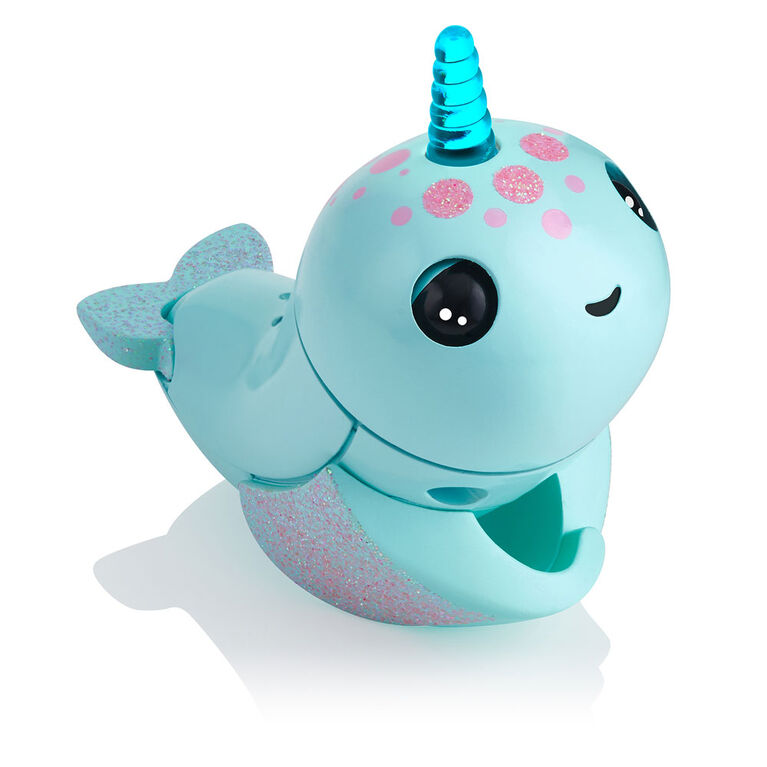 WowWee Fingerlings Light Up Narwhal - Nikki (Turquoise) - Friendly Interactive Toy