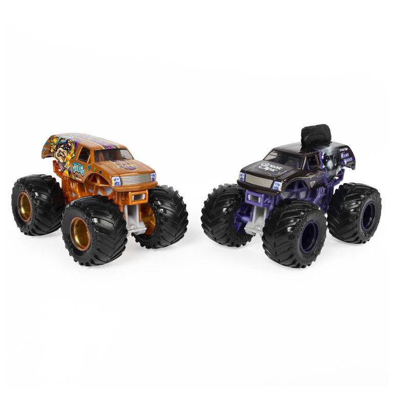 Monster Jam, Official Mohawk Warrior vs. Jester Color-Changing Die-Cast Monster Trucks, 1:64 Scale