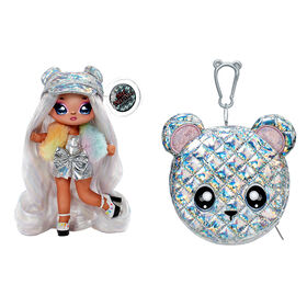 Na Na Na Surprise 2-in-1 Fashion Doll and Metallic Purse Glam Series - Ari Prism, Doll in Prismatic Sliver Dress and Hat with Bear Purse