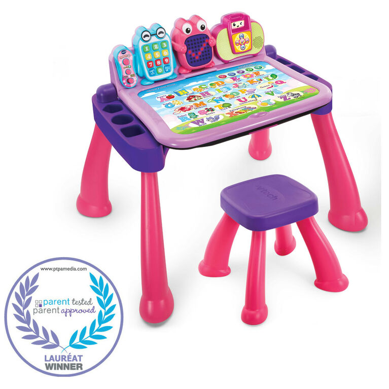 piano keys clock VTech Touch /& Learn Activity Desk Pink interactive phone
