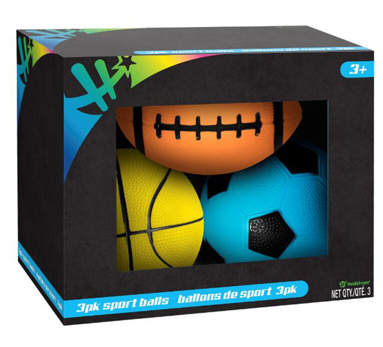 3 Pack Neon Sports Balls Boxed - Colours and Styles May Vary