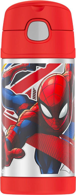 Thermos FUNtainer Stainless Steel Water Bottle with Straw, Spider-Man - Styles may vary