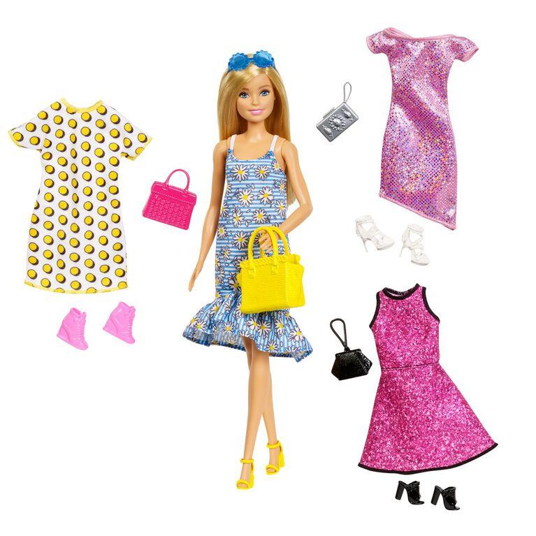 Coffret poupée Barbie et vêtements comprenant 4tenues complètes