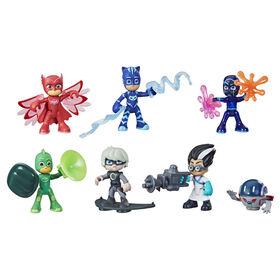 Pyjamasques, Coffret héros et méchants, jouet préscolaire avec 7 figurines Pyjamasques et 10 accessoires