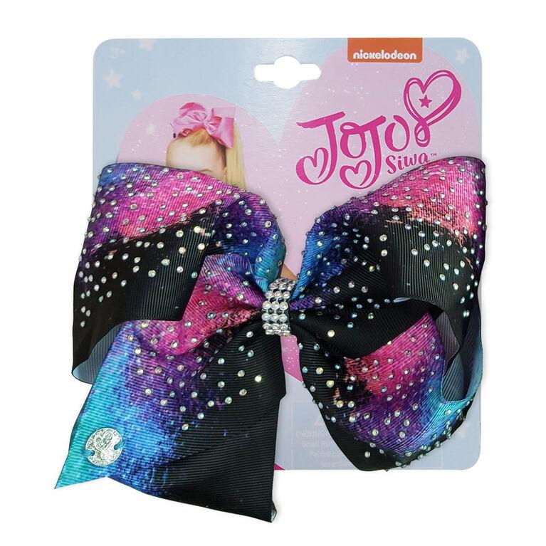 Jojo Siwa Bow Black and Blue with Shiny Dots