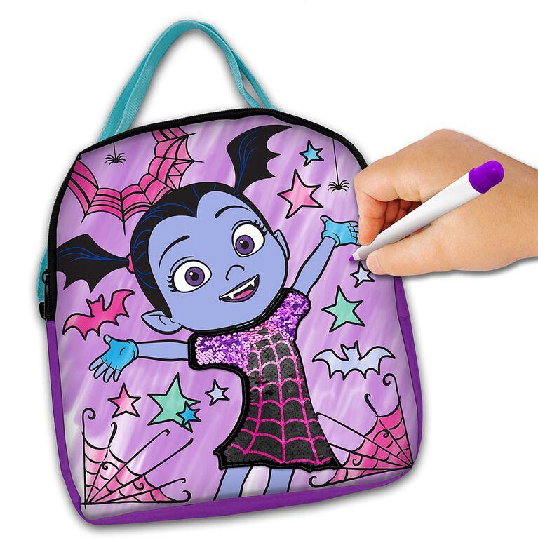 """Trousse de décoration de sac à main à paillettes """"Colorie et Personnalise"""" Vampirina."""