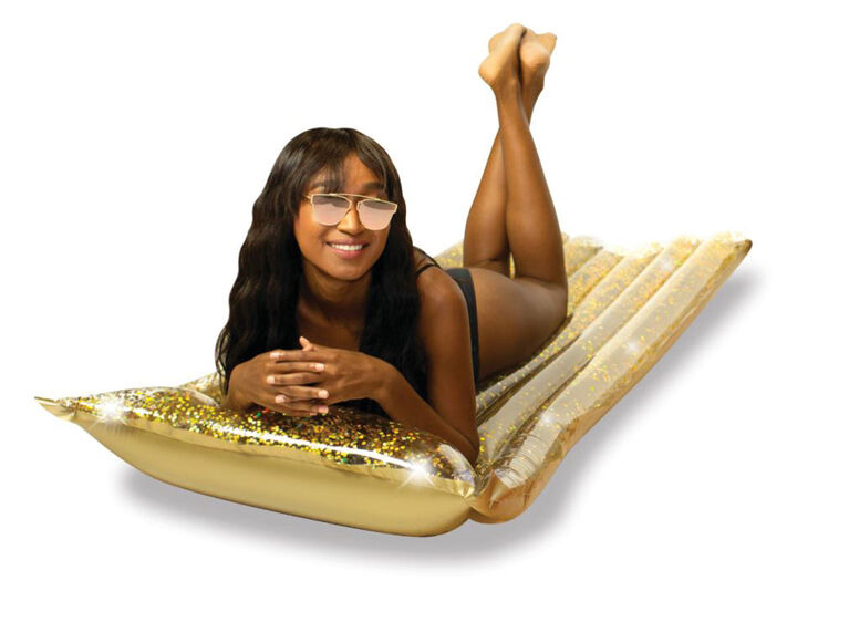 "72"" Glitter Pool Raft with Pillow - Gold"