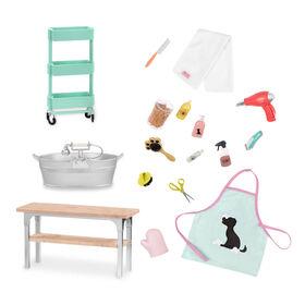 Pet Grooming Set, Our Generation, Ensemble de toilettage pour animaux pour poupées de 18po